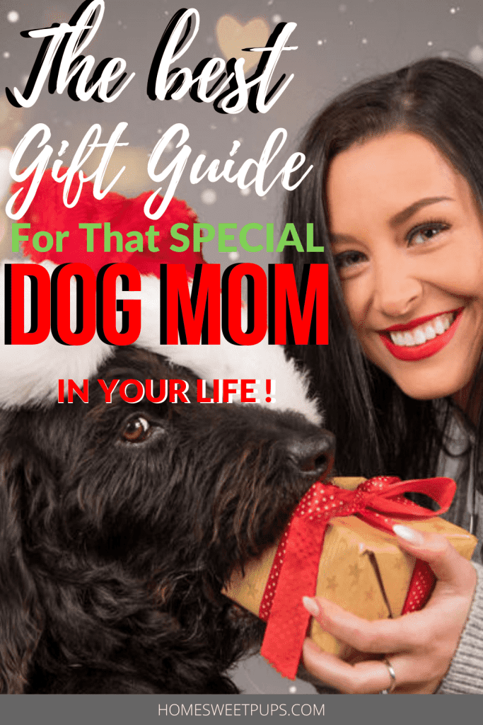 Gift Guide of great products to give a dog mom. A mom and dog in the photo holding a gift tells it all.
