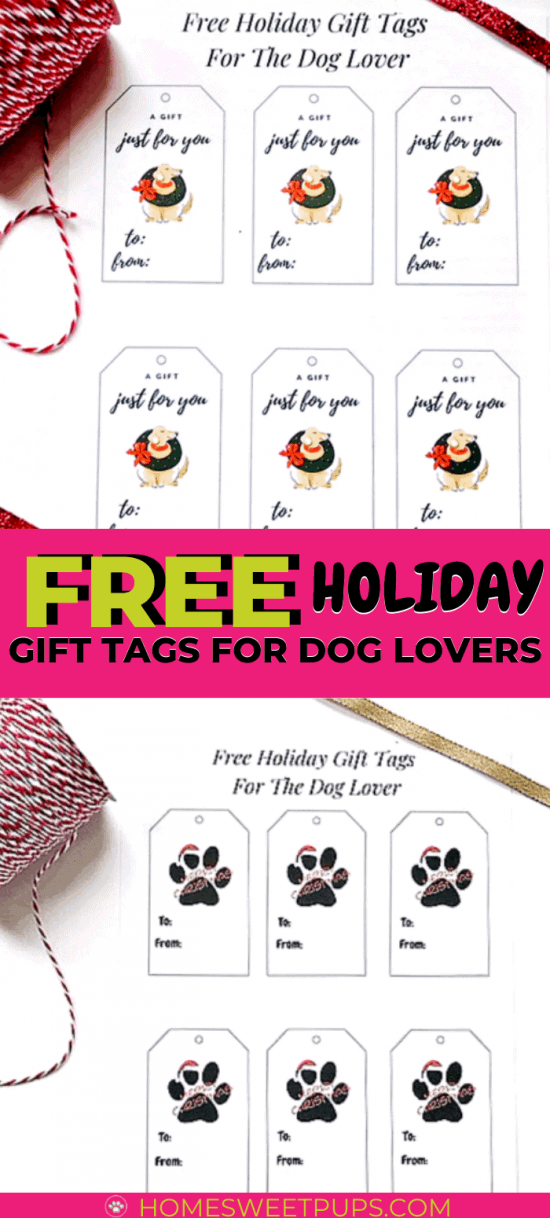 Free Holiday gift tags for the dog lover. Here are what the tags look like a paw with santa hat and a dog with wreath around neck download one style or both to use.