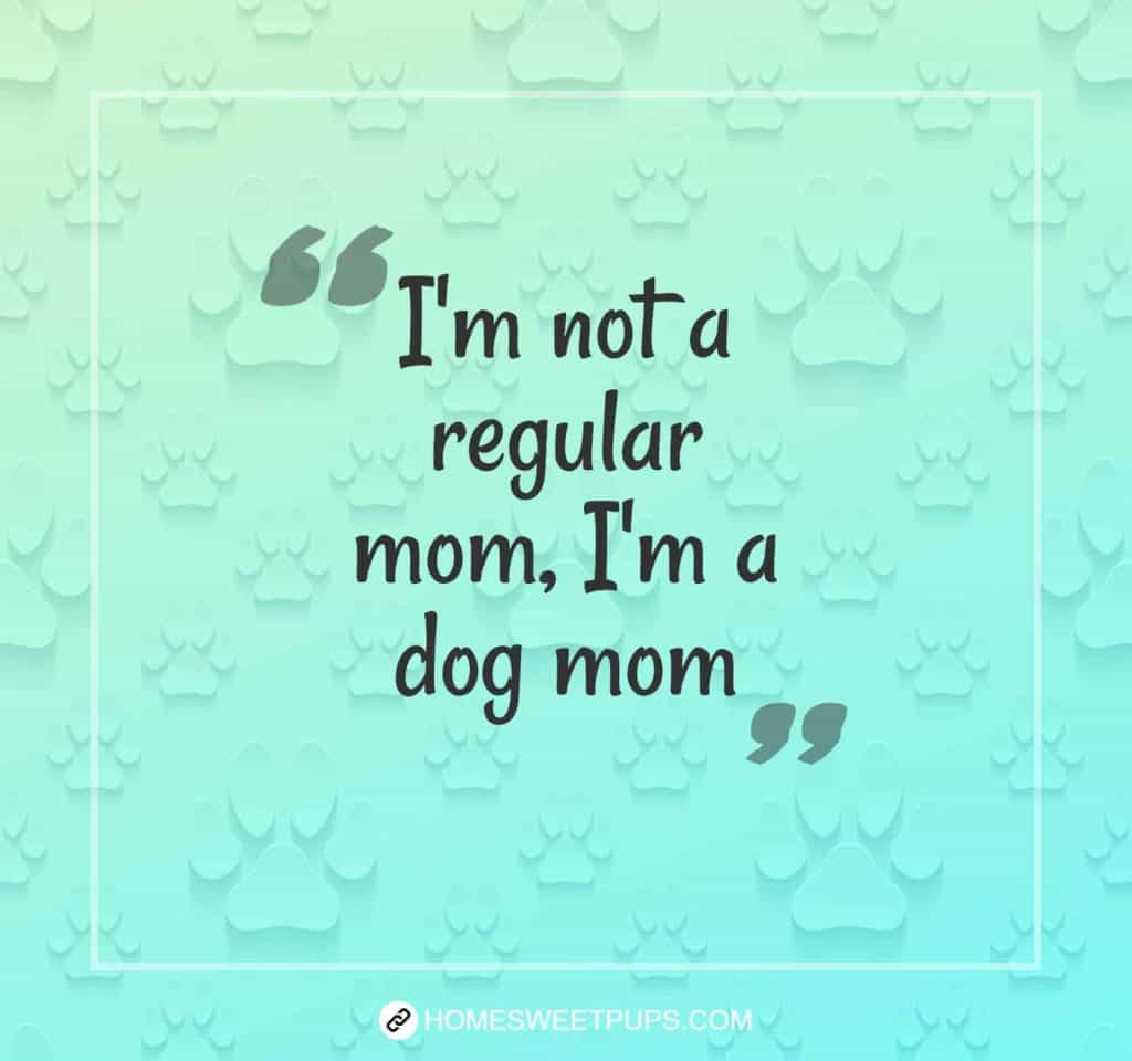 "Quote about dogs loyalty ""I'm not a regular mom, I'm a dog mom"""