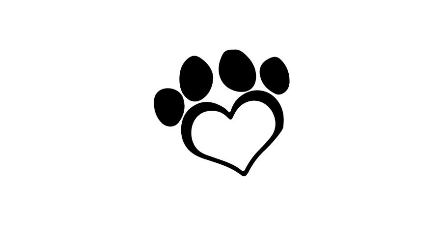 large heart to make a dog paw print