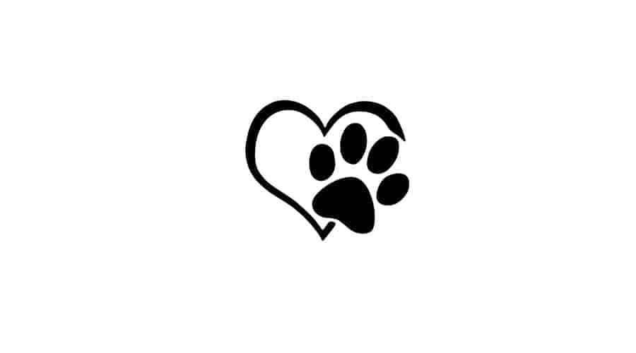 paw print inside heart design