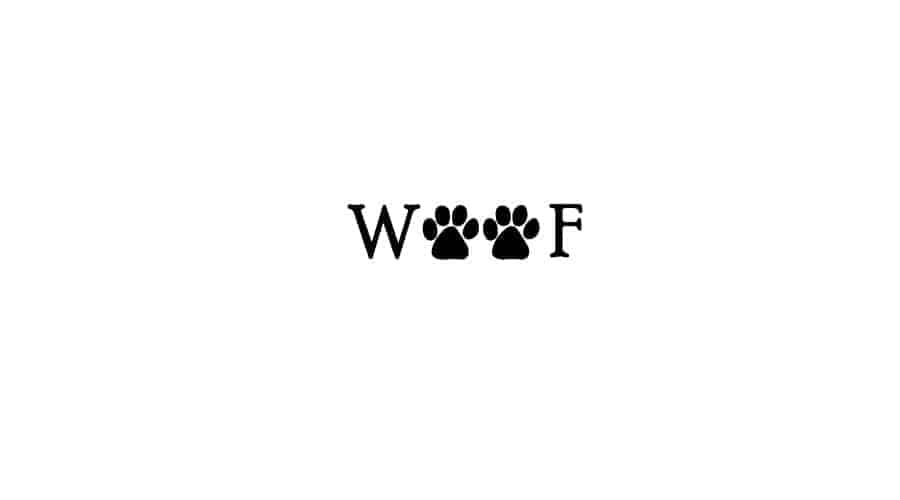 two tiny paw prints inside the word of woof replacing the o's in the word