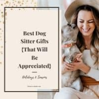 Woman with dog smiling after getting gift