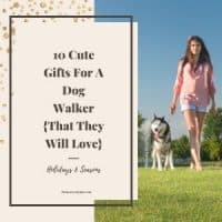 Girl walking dog waiting for a gift