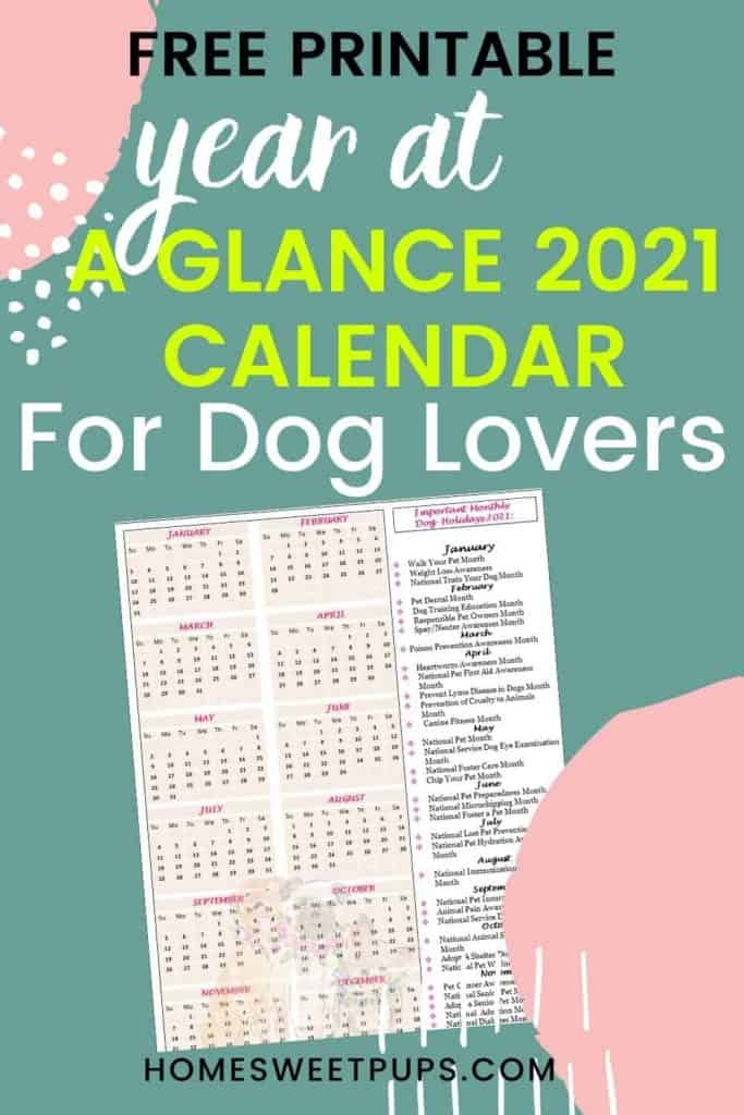 Free printable year at a glance calendar with dog holidays for 2021